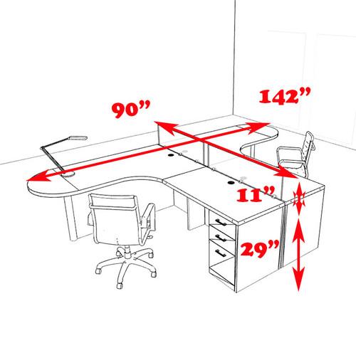 Two Person L Shaped Modern Divider Office Workstation Desk Set, #CH-AMB-SP3