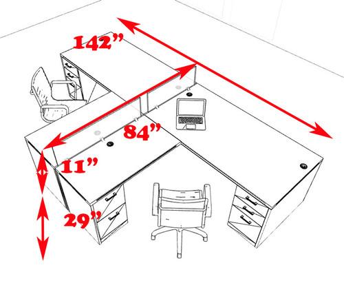 Two Person L Shaped Modern Divider Office Workstation Desk Set, #CH-AMB-SP35