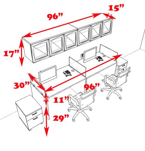 Two Person Modern Divider Office Workstation Desk Set, #CH-AMB-SP105