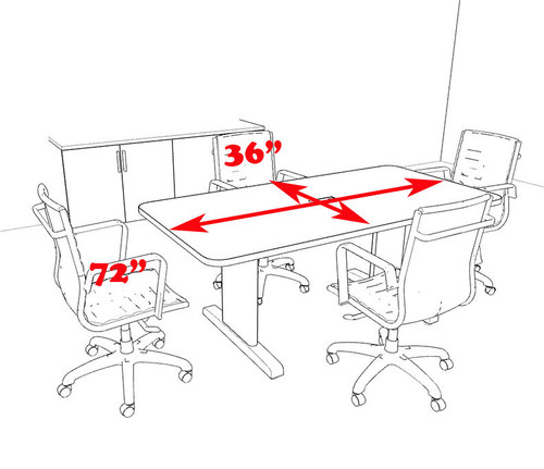 Modern Rectangular 6' Feet Conference Table, #MT-CSD-C2
