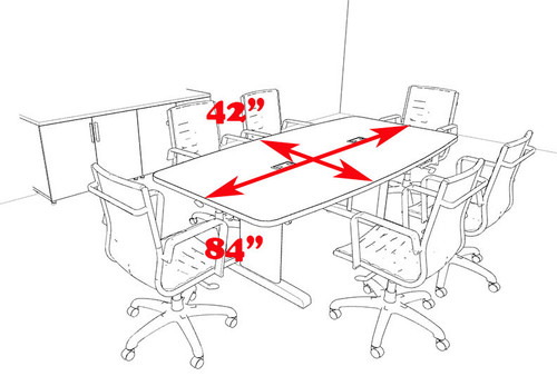 Modern Boat Shaped 7' Feet Conference Table, #MT-CSD-C27