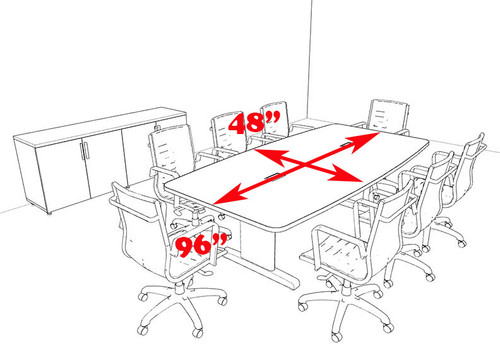 Modern Boat Shaped 8' Feet Conference Table, #MT-CSD-C43