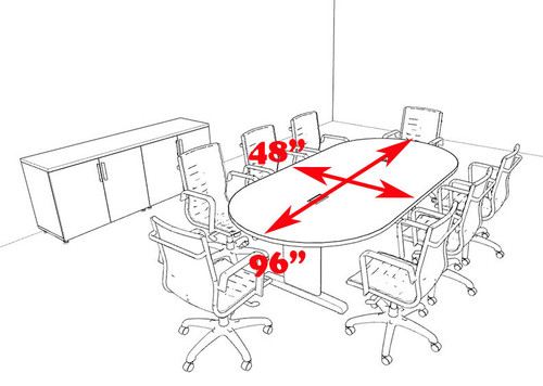 Modern Racetrack 8' Feet Conference Table, #MT-CSD-C53