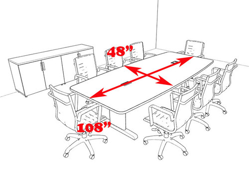 Modern Boat Shaped 9' Feet Conference Table, #MT-CSD-C62