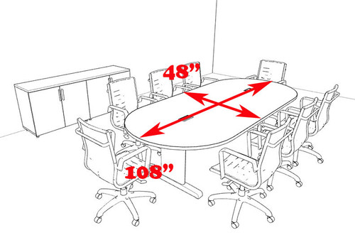Modern Racetrack 9' Feet Conference Table, #MT-CSD-C70