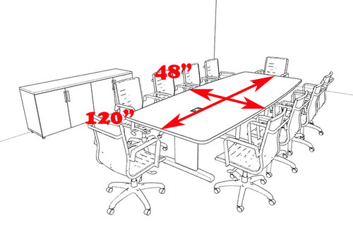 Modern Boat Shaped 10' Feet Conference Table, #MT-CSD-C83