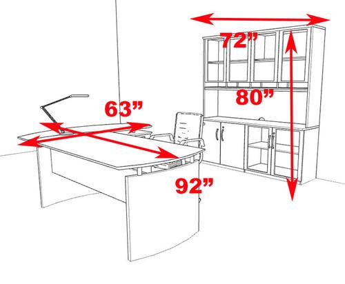 4pc Modern Contemporary L Shape Executive Office Desk Set, #RO-NAP-L11