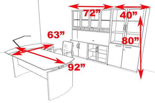 5pc Modern Contemporary L Shape Executive Office Desk Set, #RO-NAP-L15