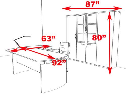 5pc Modern Contemporary L Shape Executive Office Desk Set, #RO-NAP-L18