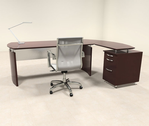 2pc Modern Contemporary L Shape Executive Office Desk Set, #RO-NAP-L3