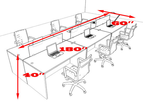 Six Person Modern Divider Office Workstation Desk Set, #OT-SUL-FP12