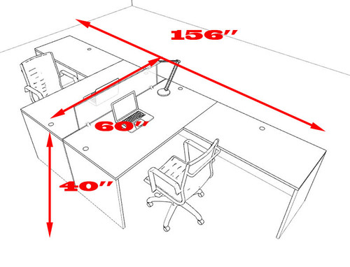 Two Person L Shaped Modern Divider Office Workstation Desk Set, #OT-SUL-FP28