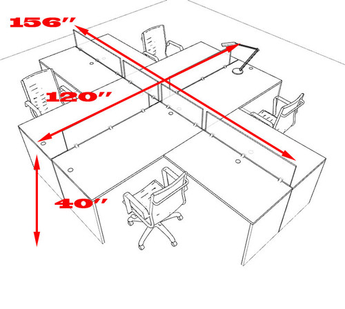 Four Person L Shaped Divider Office Workstation Desk Set, #OT-SUL-FP31