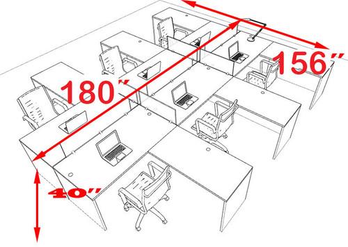 Six Person L Shaped Divider Office Workstation Desk Set, #OT-SUL-FP36