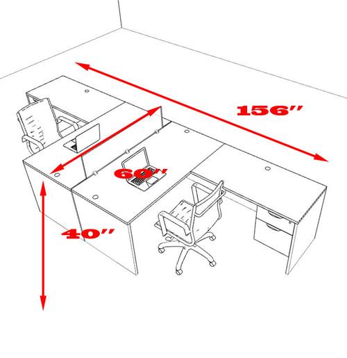 Two Person L Shaped Divider Office Workstation Desk Set, #OT-SUL-FP37