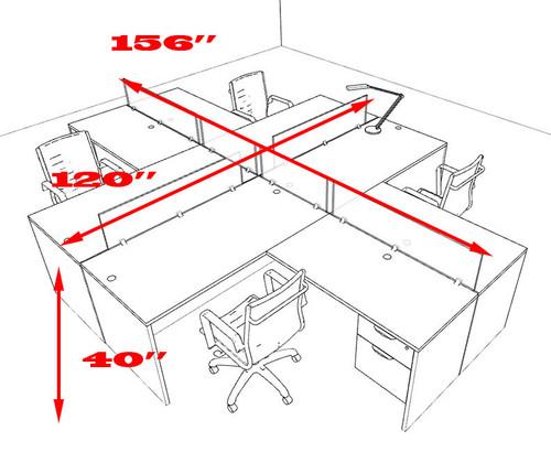 Four Person L Shaped Divider Office Workstation Desk Set, #OT-SUL-FP44