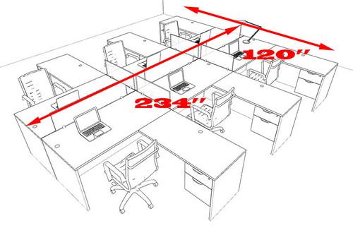 Six Person L Shaped Divider Office Workstation Desk Set, #OT-SUL-FP46