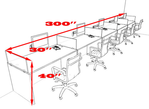 Five Person Divider Modern Office Workstation Desk Set, #OT-SUL-SP16