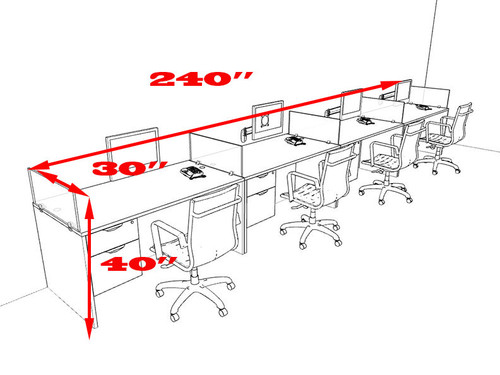 Four Person Divider MOdern Office Workstation Desk Set, #OT-SUL-SP32