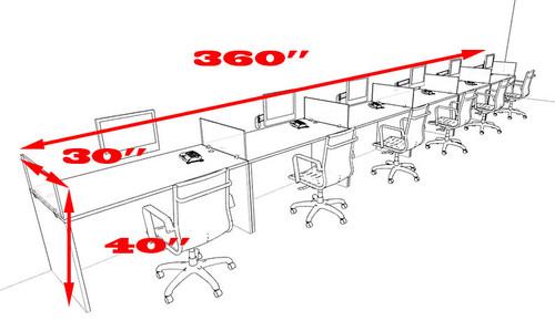 Six Person Divider Modern Office Workstation Desk Set, #OT-SUL-SP40