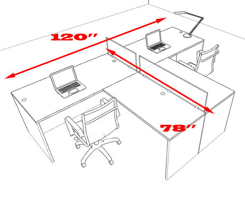 Two Person L Shaped Divider Office Workstation Desk Set, #OT-SUL-SP41