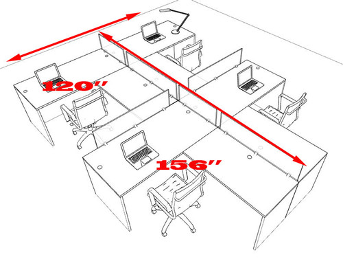 Four Person L Shaped Divider Office Workstation Desk Set, #OT-SUL-SP47