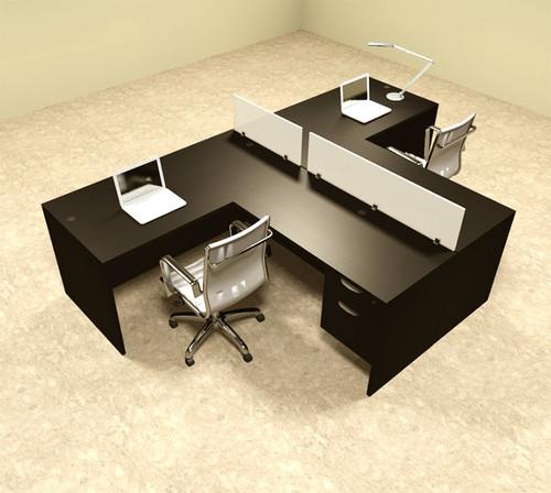 Two Person L Shaped Divider Office Workstation Desk Set, #OT-SUL-SP56