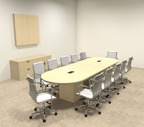 Modern Racetrack Cube Leg 12' Feet Conference Table, #OF-CON-CQ11