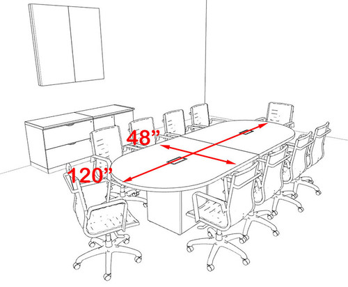 Modern Racetrack Cube Leg 10' Feet Conference Table, #OF-CON-CQ4