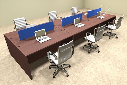 Six Person Modern Blue Divider Office Workstation Desk Set, #OT-SUL-FPB10