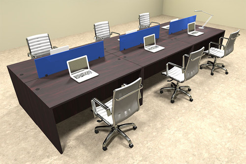 Six Person Modern Blue Divider Office Workstation Desk Set, #OT-SUL-FPB11