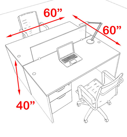 Two Person Modern Blue Divider Office Workstation Desk Set, #OT-SUL-FPB16