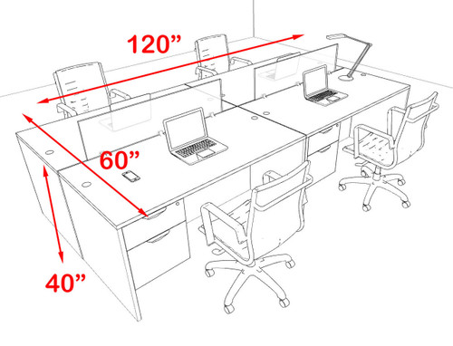 Four Person Modern Blue Divider Office Workstation Desk Set, #OT-SUL-FPB17