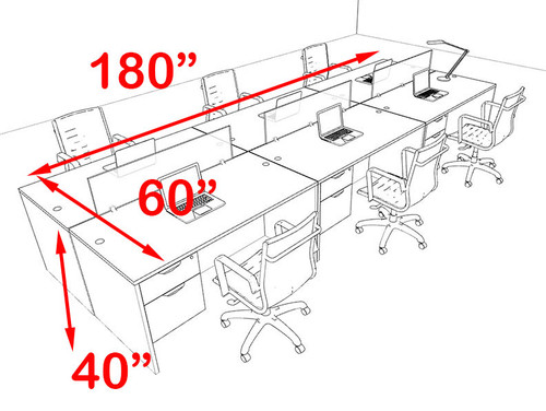 Six Person Modern Blue Divider Office Workstation Desk Set, #OT-SUL-FPB21