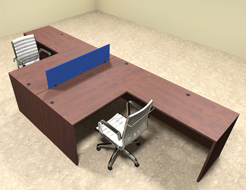 Two Person Blue Divider Office Workstation Desk Set, #OT-SUL-FPB26