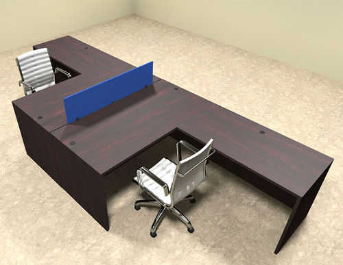 Two Person Blue Divider Office Workstation Desk Set, #OT-SUL-FPB27