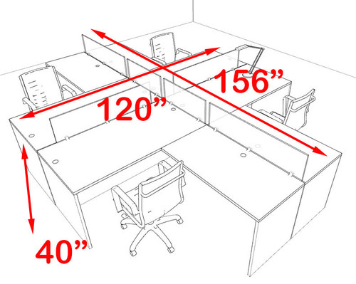 Four Person Blue Divider Office Workstation Desk Set, #OT-SUL-FPB30
