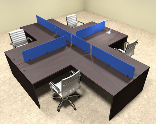 Four Person Blue Divider Office Workstation Desk Set, #OT-SUL-FPB31
