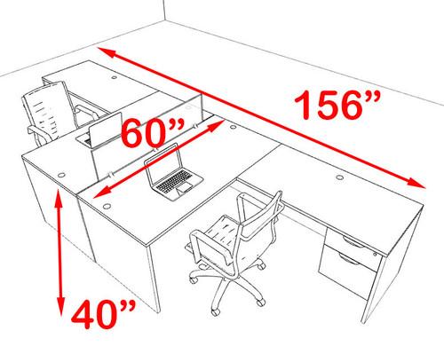 Two Person Blue Divider Office Workstation Desk Set, #OT-SUL-FPB38