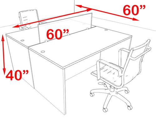 Two Person Modern Blue Divider Office Workstation Desk Set, #OT-SUL-FPB4