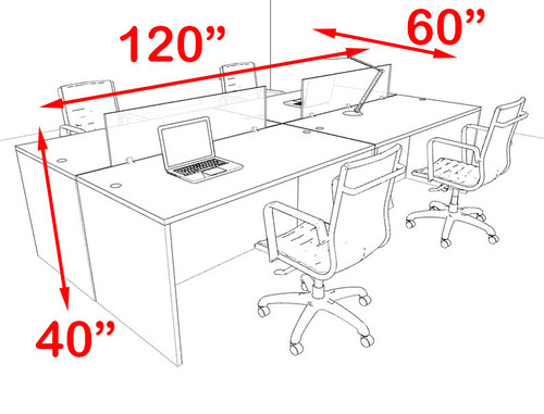 Four Person Modern Blue Divider Office Workstation Desk Set, #OT-SUL-FPB5