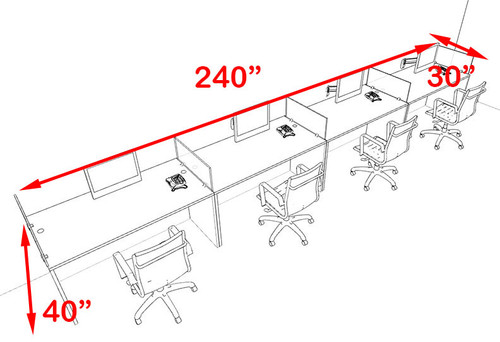 Four Person Blue Divider Office Workstation Desk Set, #OT-SUL-SPB12