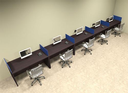 Five Person Blue Divider Office Workstation Desk Set, #OT-SUL-SPB15