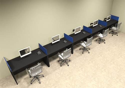 Five Person Blue Divider Office Workstation Desk Set, #OT-SUL-SPB16