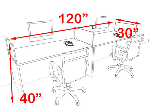 Two Person Blue Divider Office Workstation Desk Set, #OT-SUL-SPB2