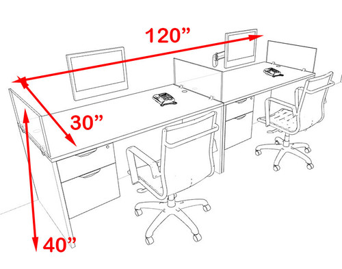 Two Person Blue Divider Office Workstation Desk Set, #OT-SUL-SPB24