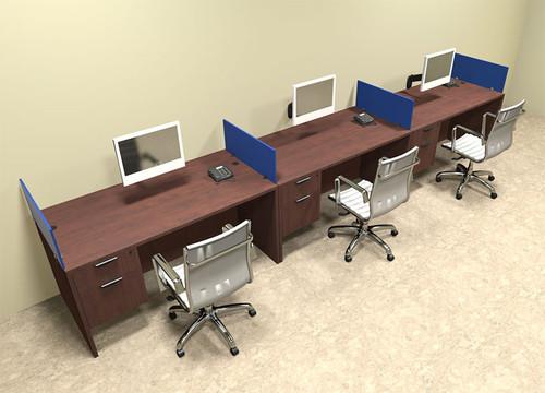 Three Person Blue Divider Office Workstation Desk Set, #OT-SUL-SPB26