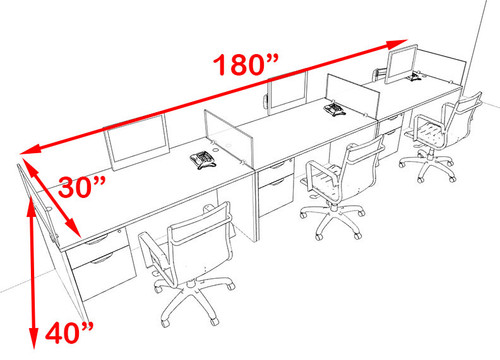 Three Person Blue Divider Office Workstation Desk Set, #OT-SUL-SPB26