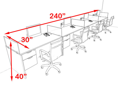 Four Person Blue Divider Office Workstation Desk Set, #OT-SUL-SPB29