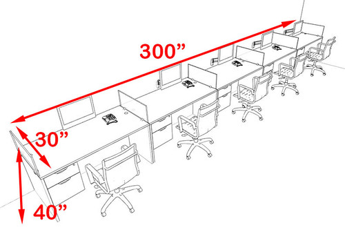 Five Person Blue Divider Office Workstation Desk Set, #OT-SUL-SPB34